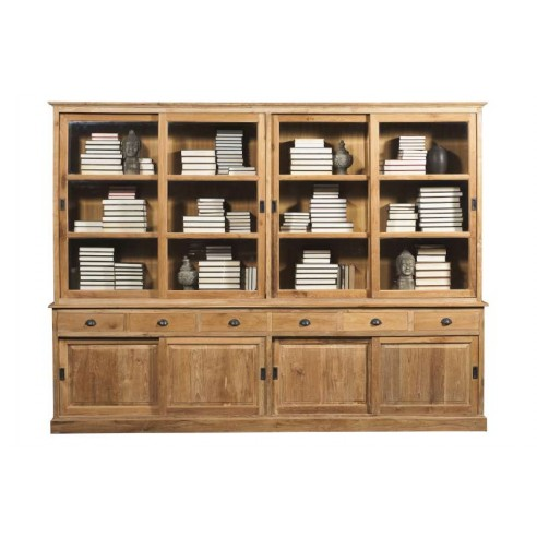 biblioth que 300 cm 2 corps en teck massif ancien 4 portes coulissantes hera la galerie du teck. Black Bedroom Furniture Sets. Home Design Ideas
