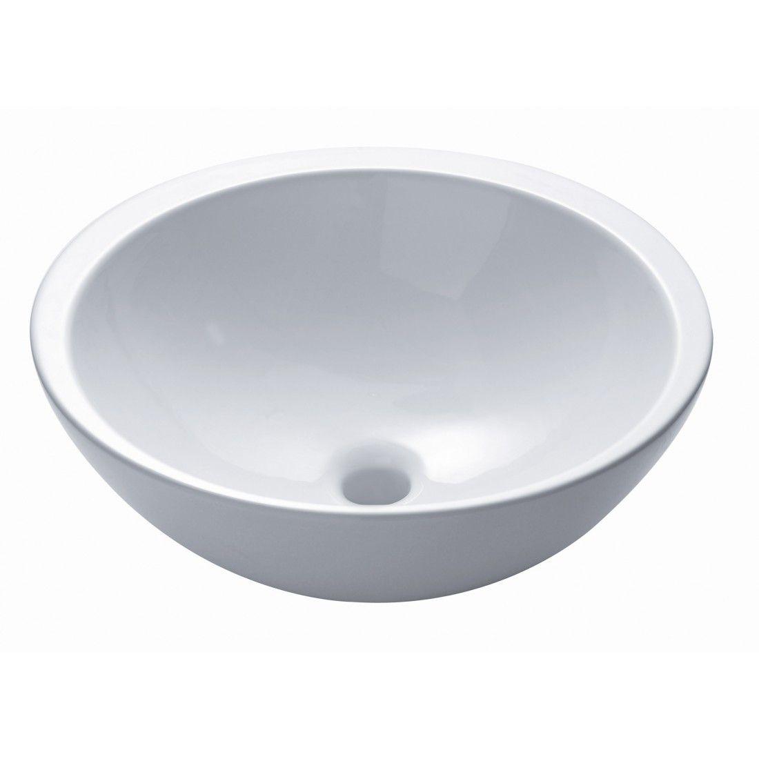 Vasque à poser ronde 47 cm en céramique modèle soleil single