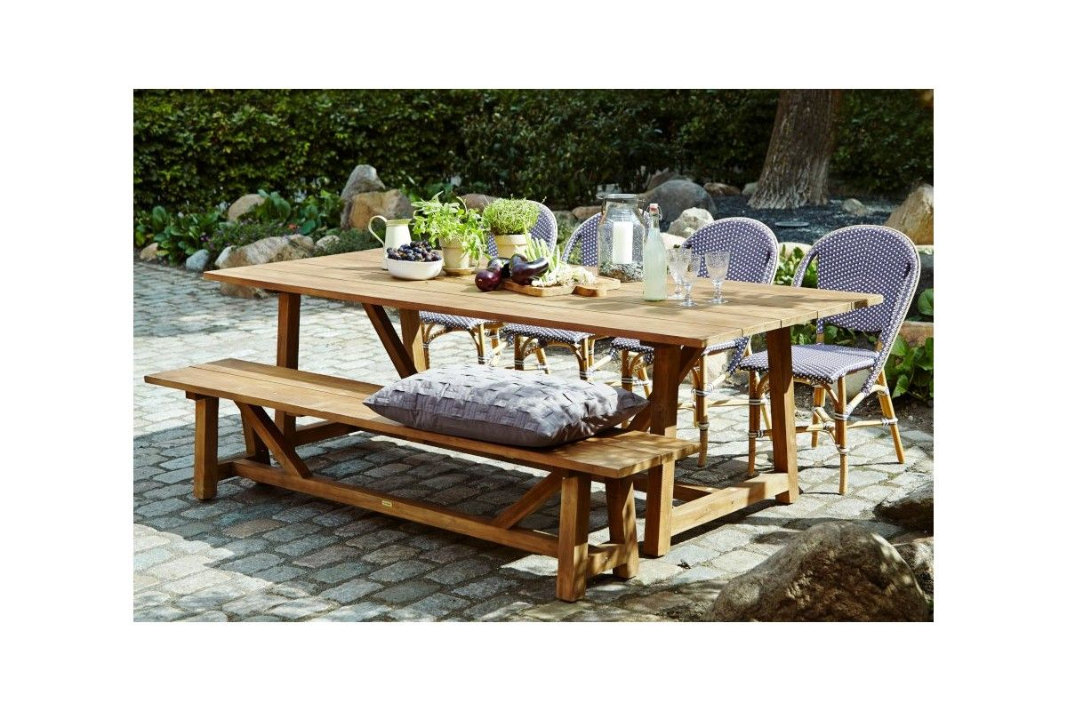 Table de jardin en teck ancien 240 cm la galerie du teck for Table jardin en teck