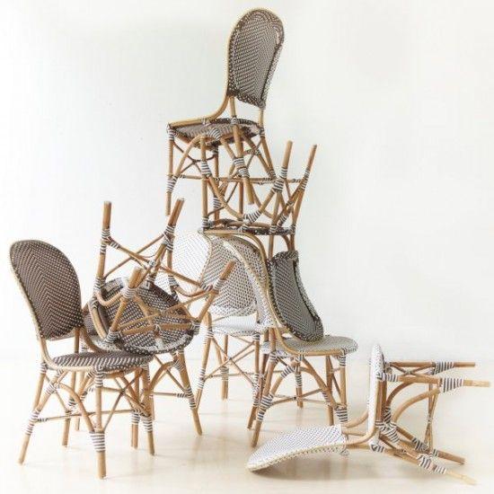 Chaise de jardin en rotin naturel et résine tressée