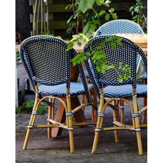 Chaise de jardin en rotin naturel et résine tressée empilable