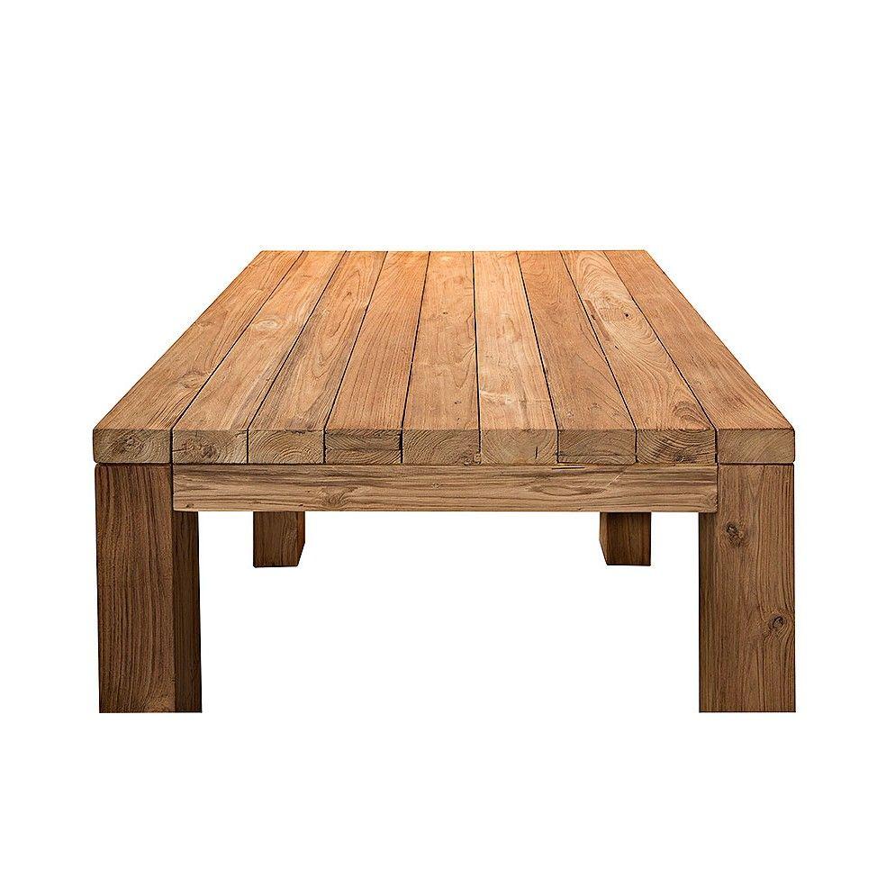 Table carrée vieux teck massif 90 x 90 cm, modèle Primitive