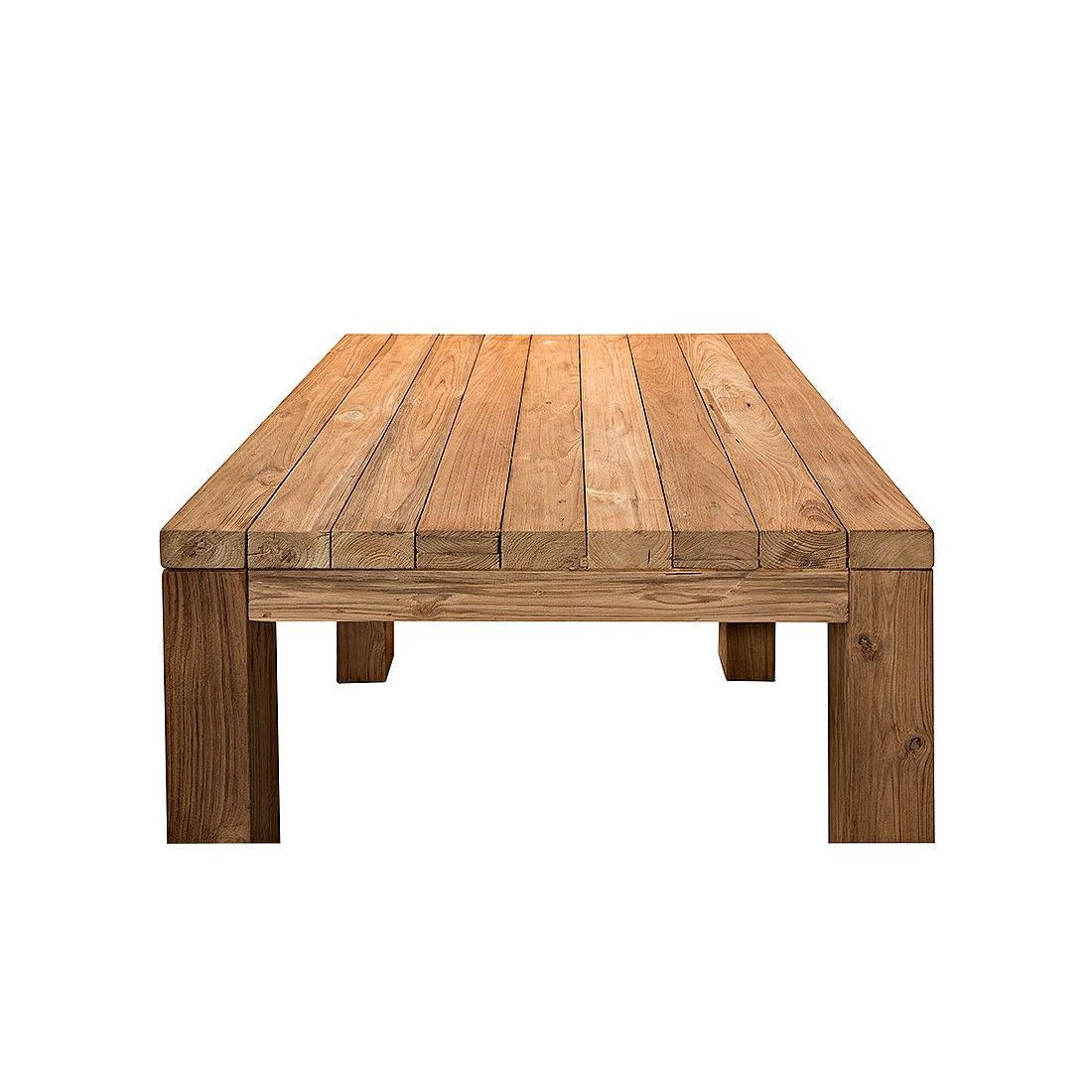 Table carrée vieux teck massif, modèle Primitive