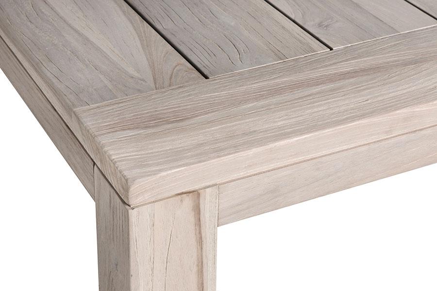 Table de jardin en teck recyclé 220 cm gris délavé, modèle Aberdeen