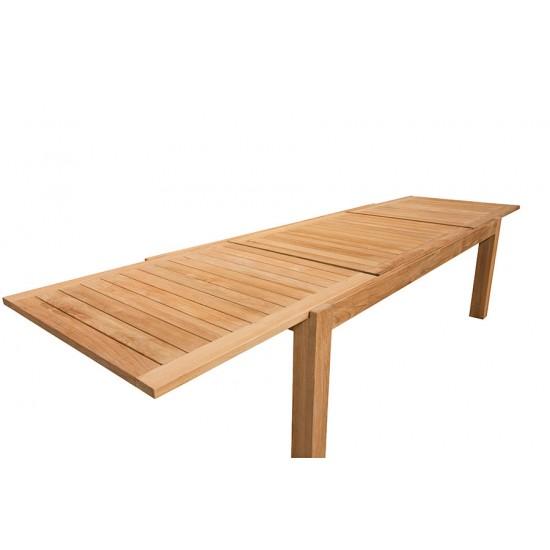 Table de jardin de grande taille en teck massif avec rallonge 220/340 cm, Liverpool