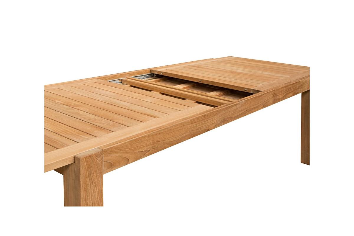 Table de jardin de grande taille en teck massif 220/340 cm, rallonge