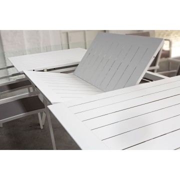 Table en aluminium mat avec rallonge 200-300 cm, Parm
