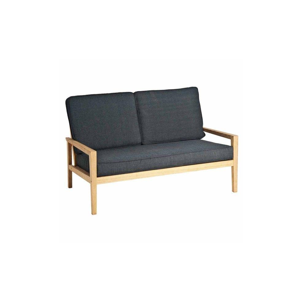 Canapé lounge, salon de jardin, en bois avec coussin gris foncé, haut de gamme
