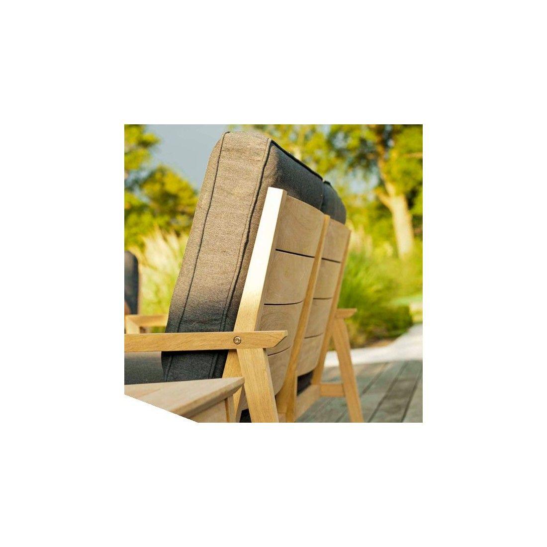 Canapé lounge pour salon de jardin en bois avec coussin gris foncé