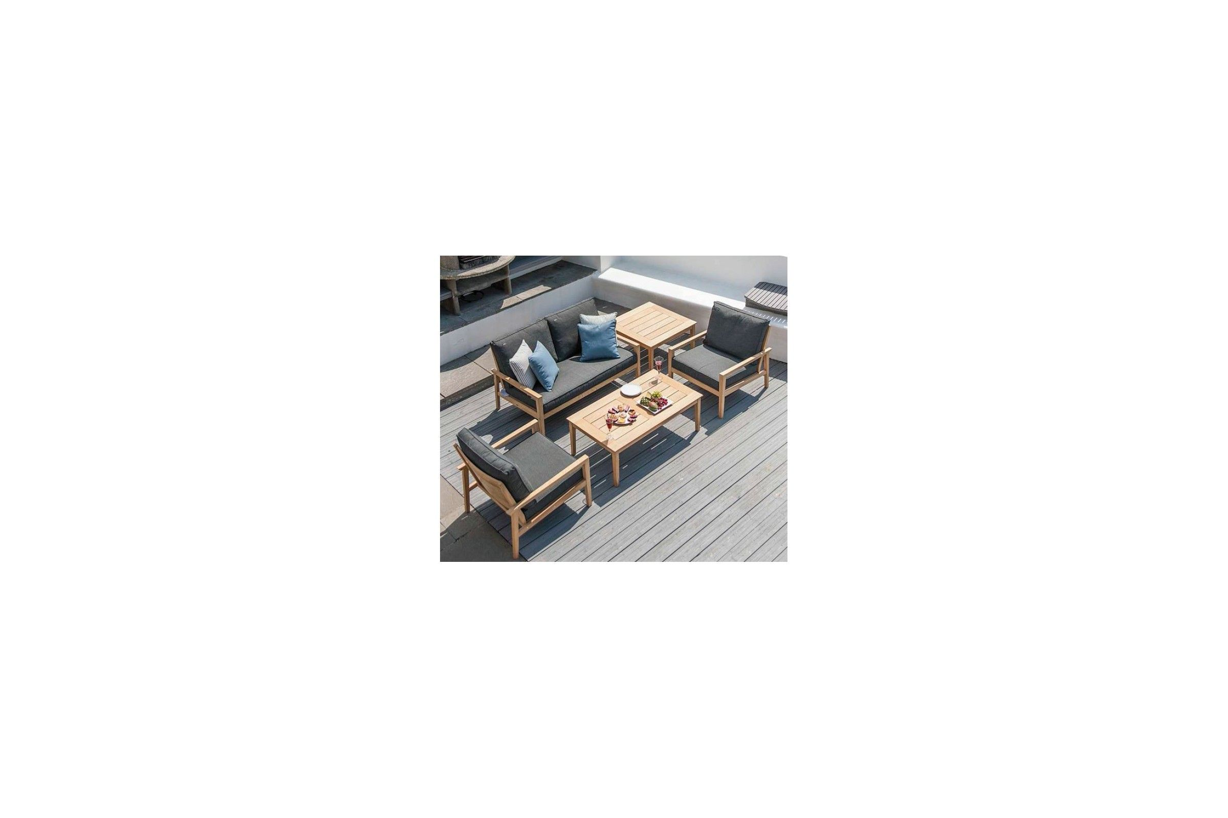 canap salon de jardin en bois avec coussin gris fonc. Black Bedroom Furniture Sets. Home Design Ideas