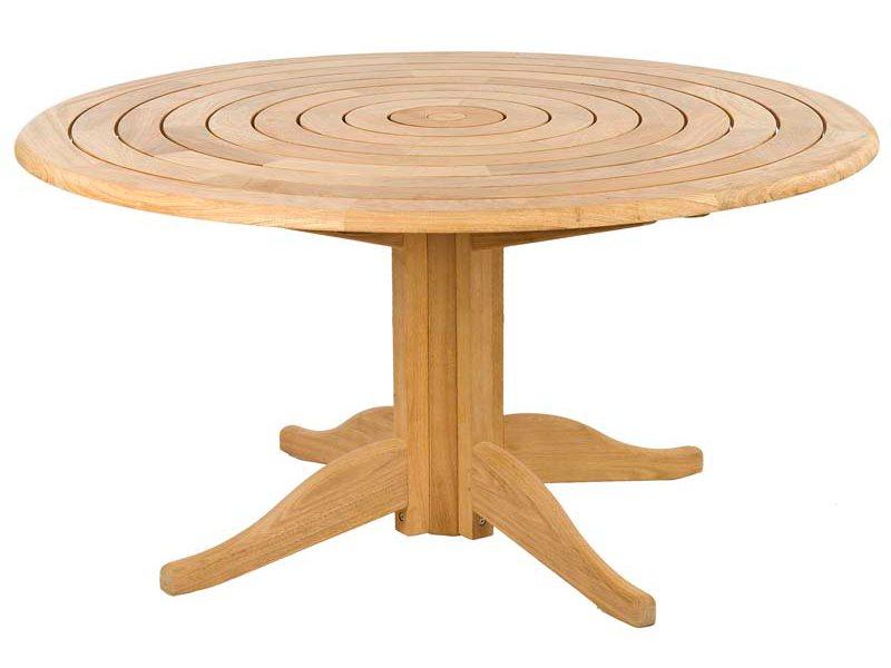 Table de jardin ronde en bois, d 145 ou 175 cm, haut de gamme
