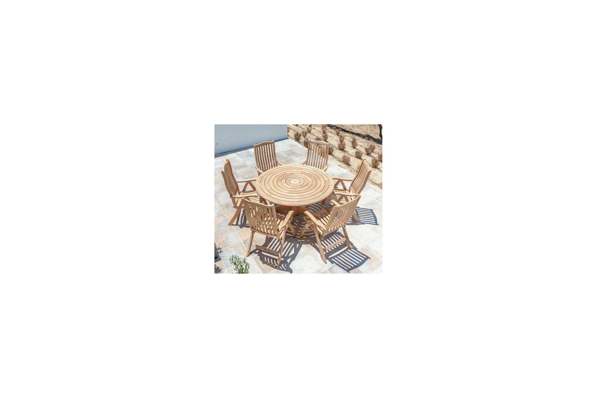 Table de jardin ronde en bois, d 145 cm et 175 cm, haut de gamme