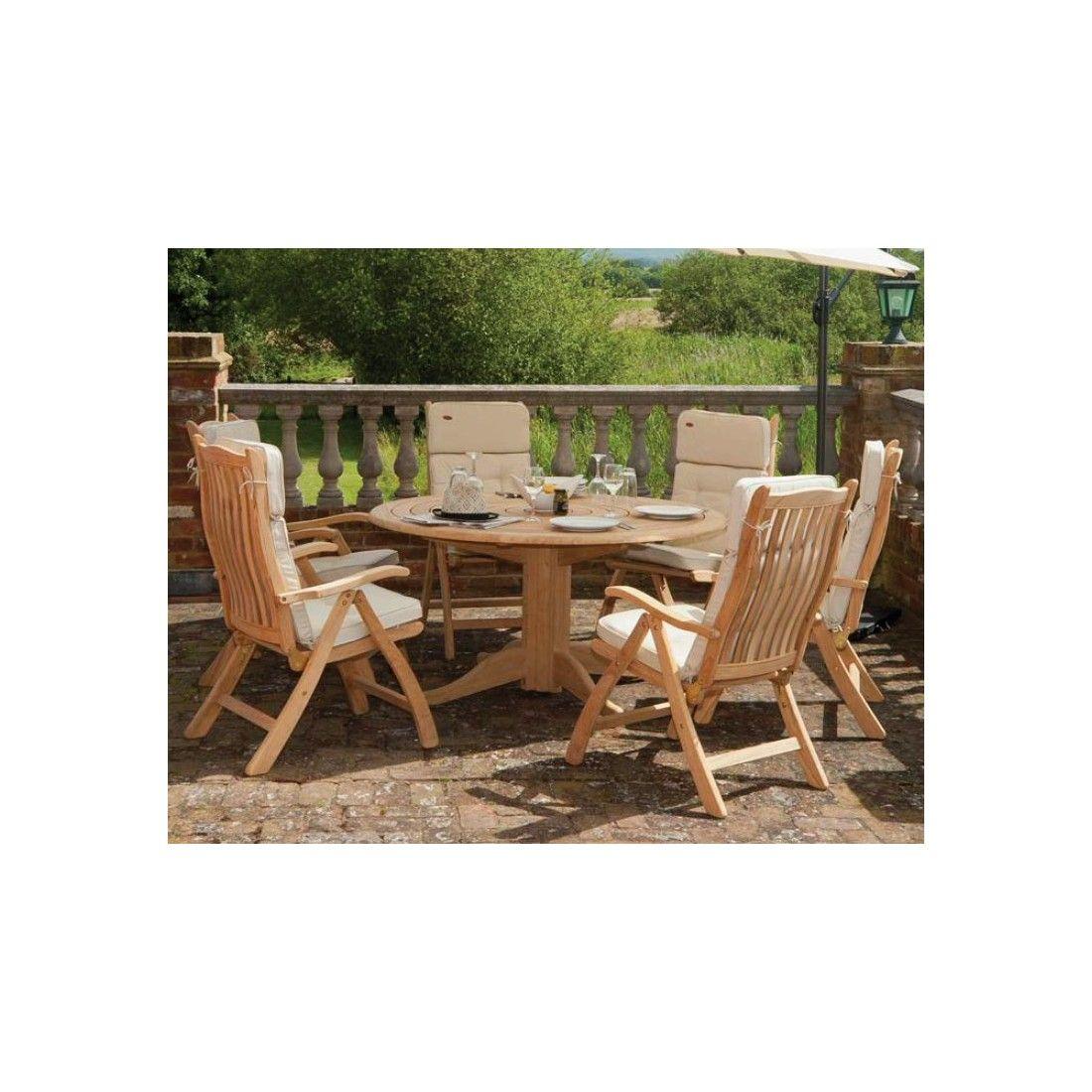 Table de jardin ronde en bois, haut de gamme