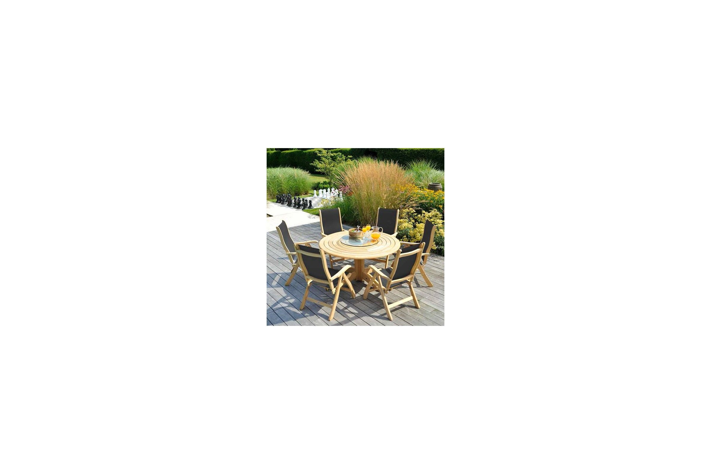 table de jardin ronde en bois d 145 cm et 175 cm haut de gamme la galerie du teck. Black Bedroom Furniture Sets. Home Design Ideas