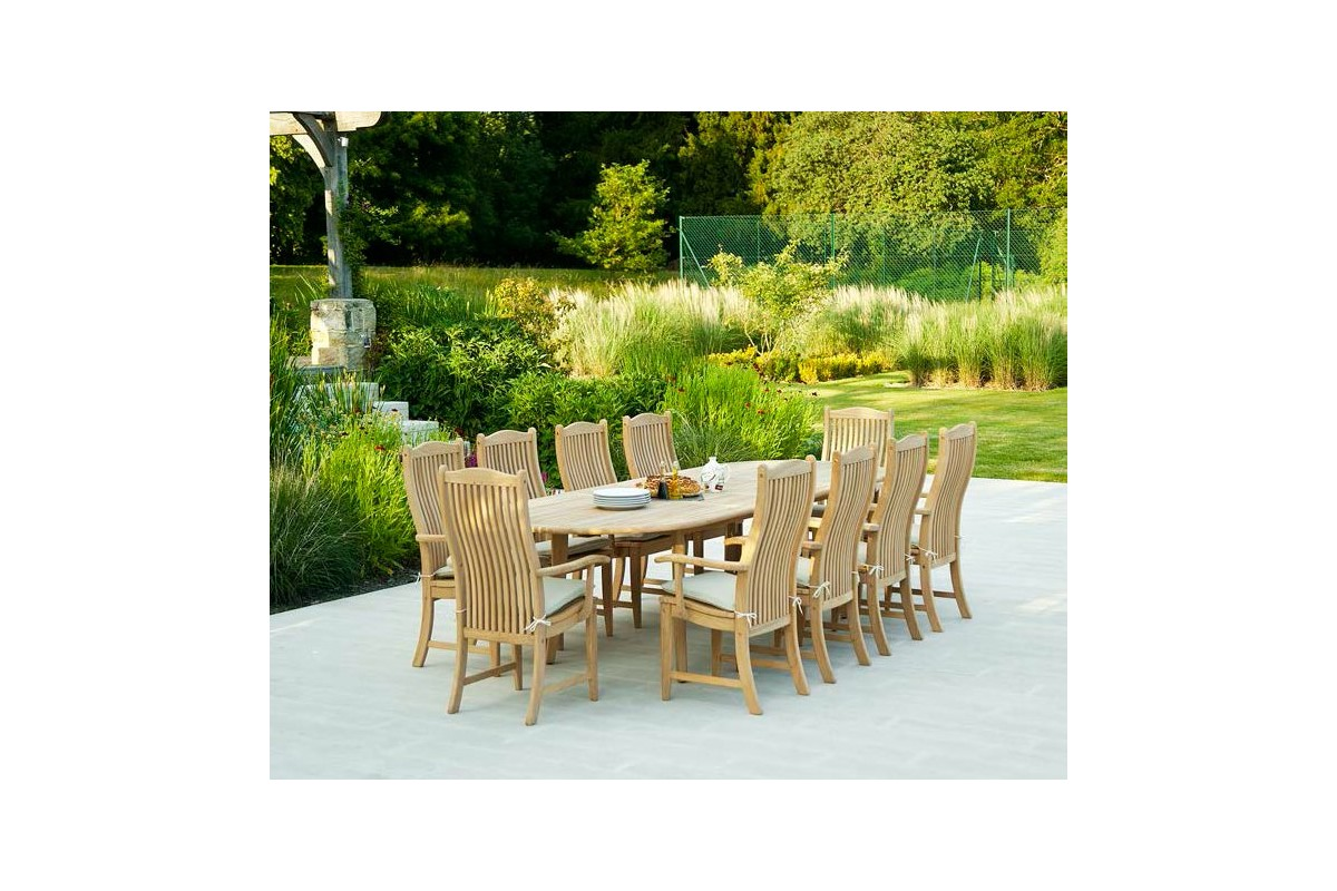 grande table de jardin bois massif 200 290 cm rallonge haut de gamme. Black Bedroom Furniture Sets. Home Design Ideas