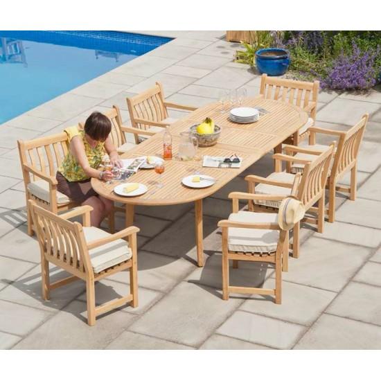 Grande table de jardin en bois massif avec rallonge, 200 / 290 cm, haut de gamme