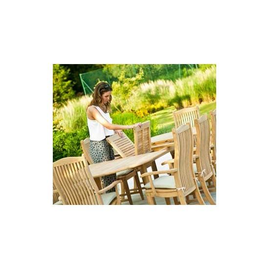 Table de jardin en bois massif avec rallonge, 200 / 290 cm, haut de gamme