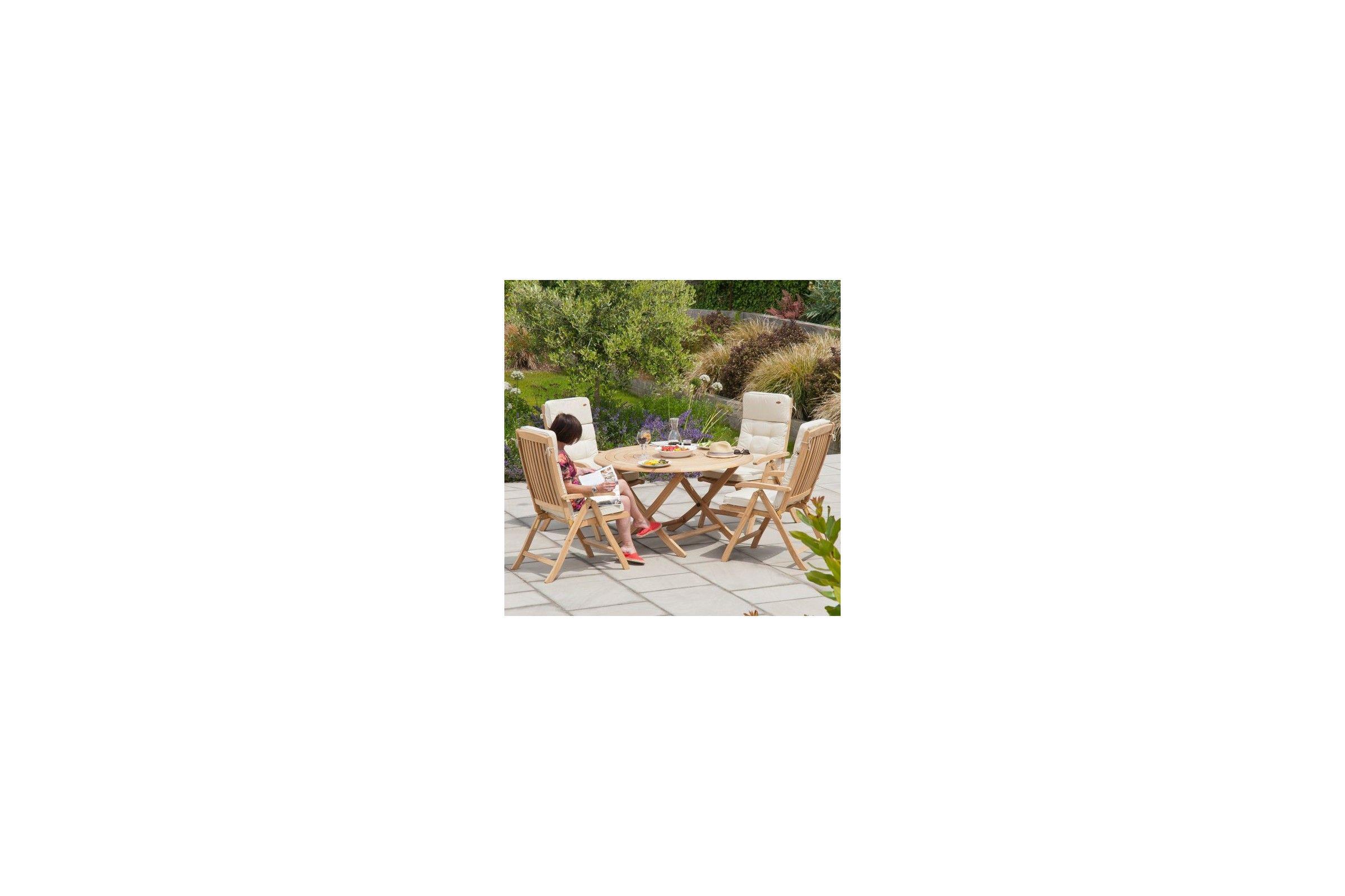 Table de jardin ronde en teck, grand choix sur La Galerie du Teck ...