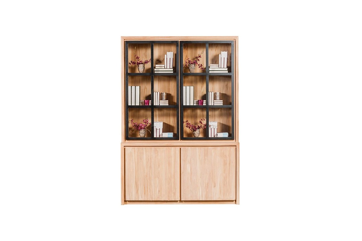 biblioth que en teck massif 154 cm 2 portes basses 2 portes vitr es clairage la galerie. Black Bedroom Furniture Sets. Home Design Ideas