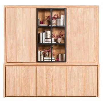 Bibliothèque en teck massif 226 cm 5 portes + 1 porte vitrée + éclairage