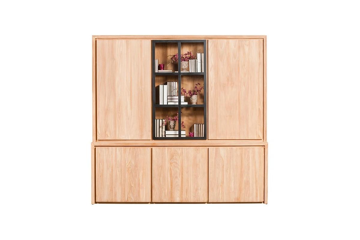 Biblioth que en teck massif 226 cm 5 portes 1 porte vitr e clairage la - Bibliotheque en teck massif ...
