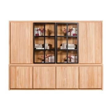 Bibliothèque en teck massif 295 cm 6 portes + 2 portes vitrées + éclairage