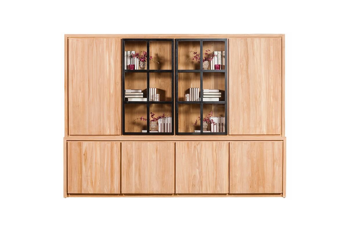 Biblioth que en teck massif 295 cm 6 portes 2 portes vitr es clairage - Bibliotheque en teck massif ...