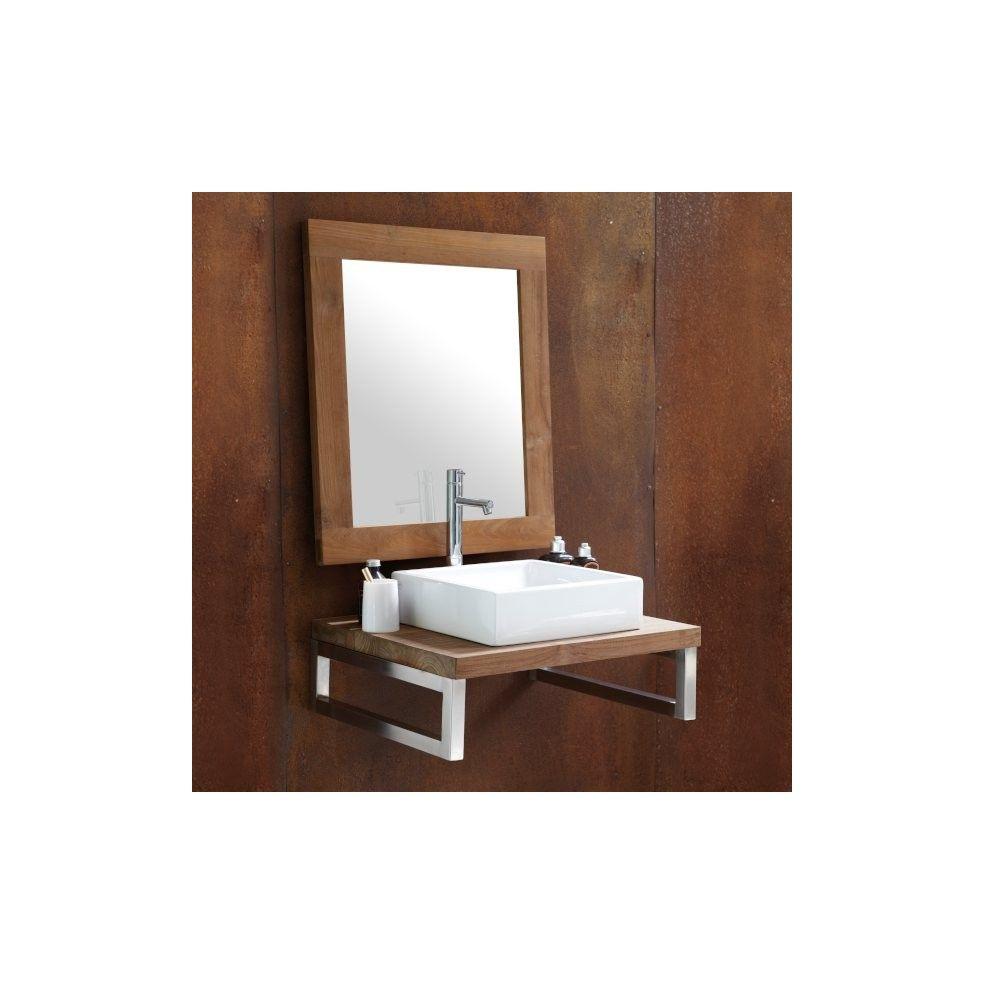 Plan de toilette en teck massif sur mesure, finition teintée, Line Art