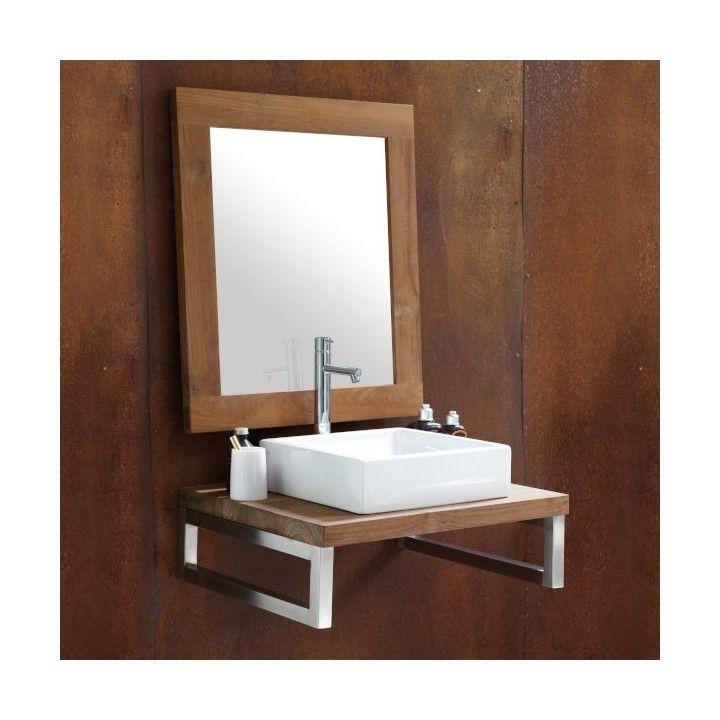 Plan de toilette en teck massif sur mesure brut, Line Art