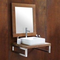Plan de toilette en teck massif sur mesure, brut, Line Art