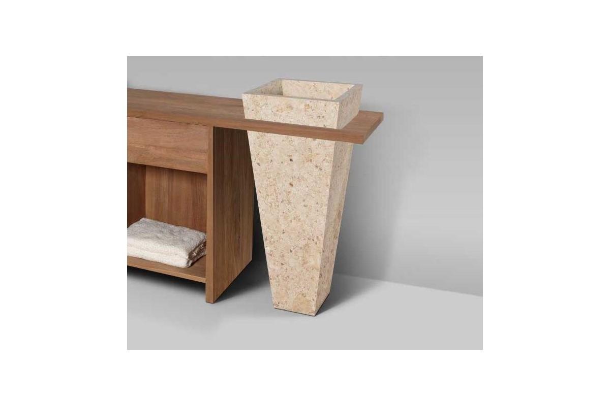 Meuble de salle de bain teck massif recycl 1 tiroir avec for Pied meuble de salle de bain