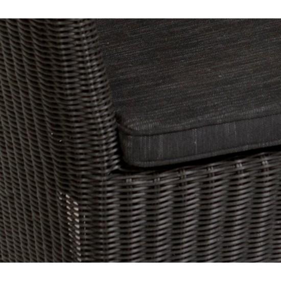 Fauteuil en résine tressée ronde, ton naturel, gris ou noir
