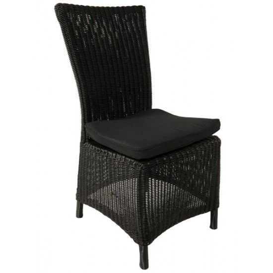 Chaise en résine tressée ronde, ton gris ou noir
