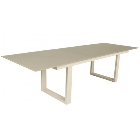Table en verre et aluminium avec rallonge 220 290 cm roma for Table verre rallonge