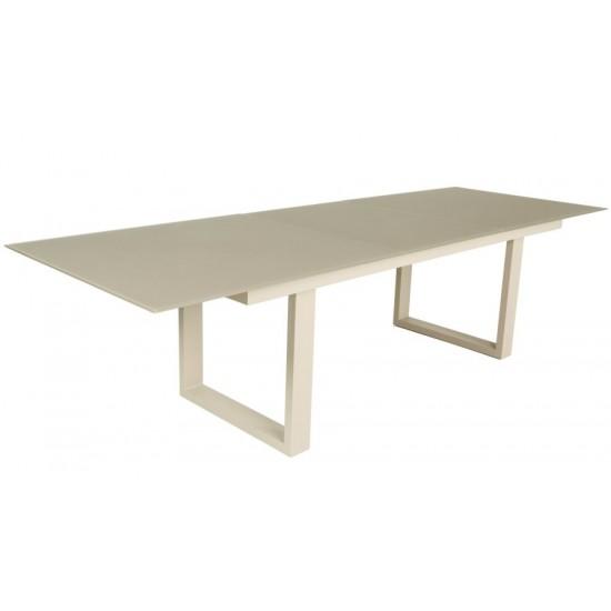 Table en verre et aluminium avec rallonge 220-290 cm, ROMA