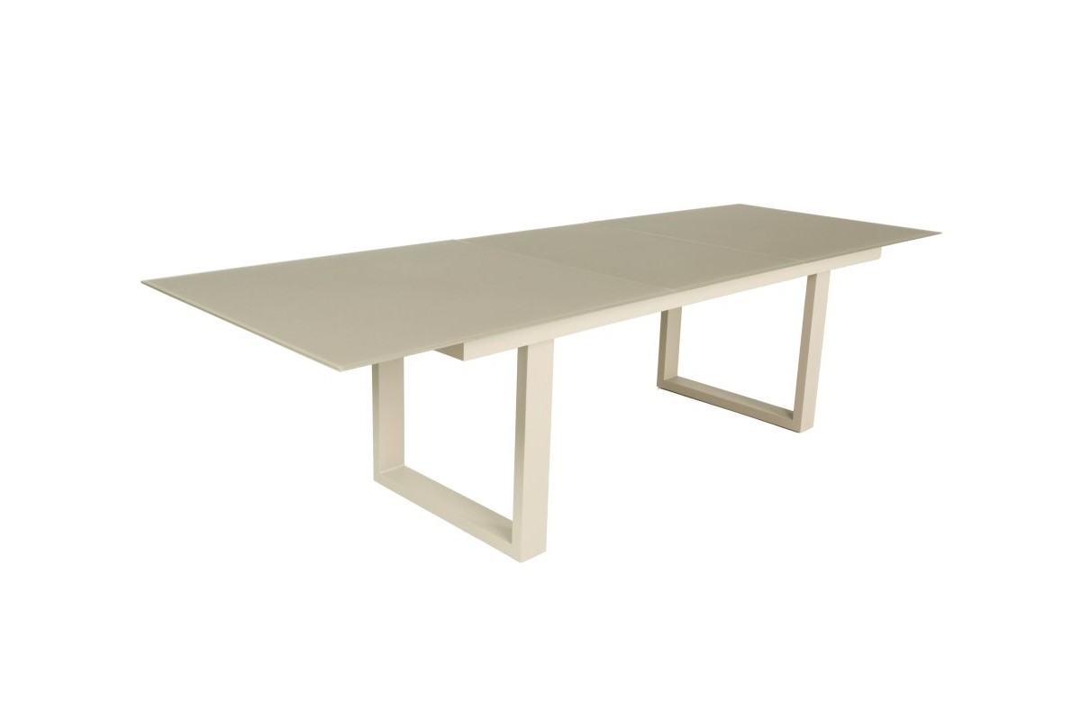 Table en verre et aluminium avec rallonge 220 290 cm roma for Table rallonge