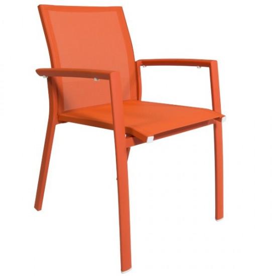 Chaise empilable en alu et textylène, Rimini