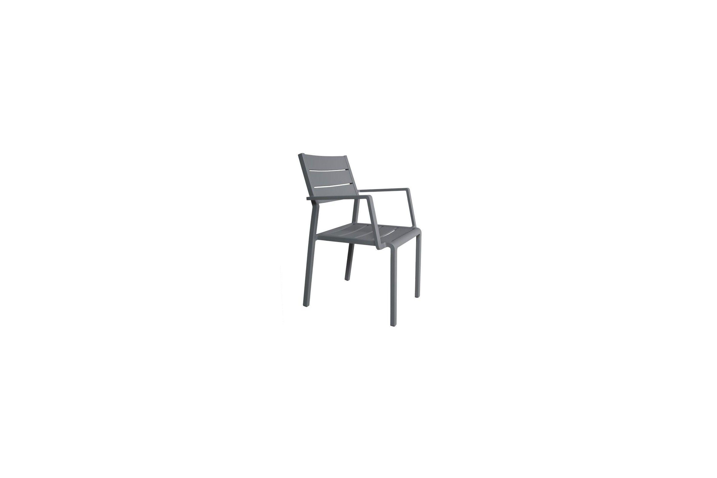 fauteuil de jardin empilable en aluminium mat blanc gris ou ivoire la galerie du teck. Black Bedroom Furniture Sets. Home Design Ideas