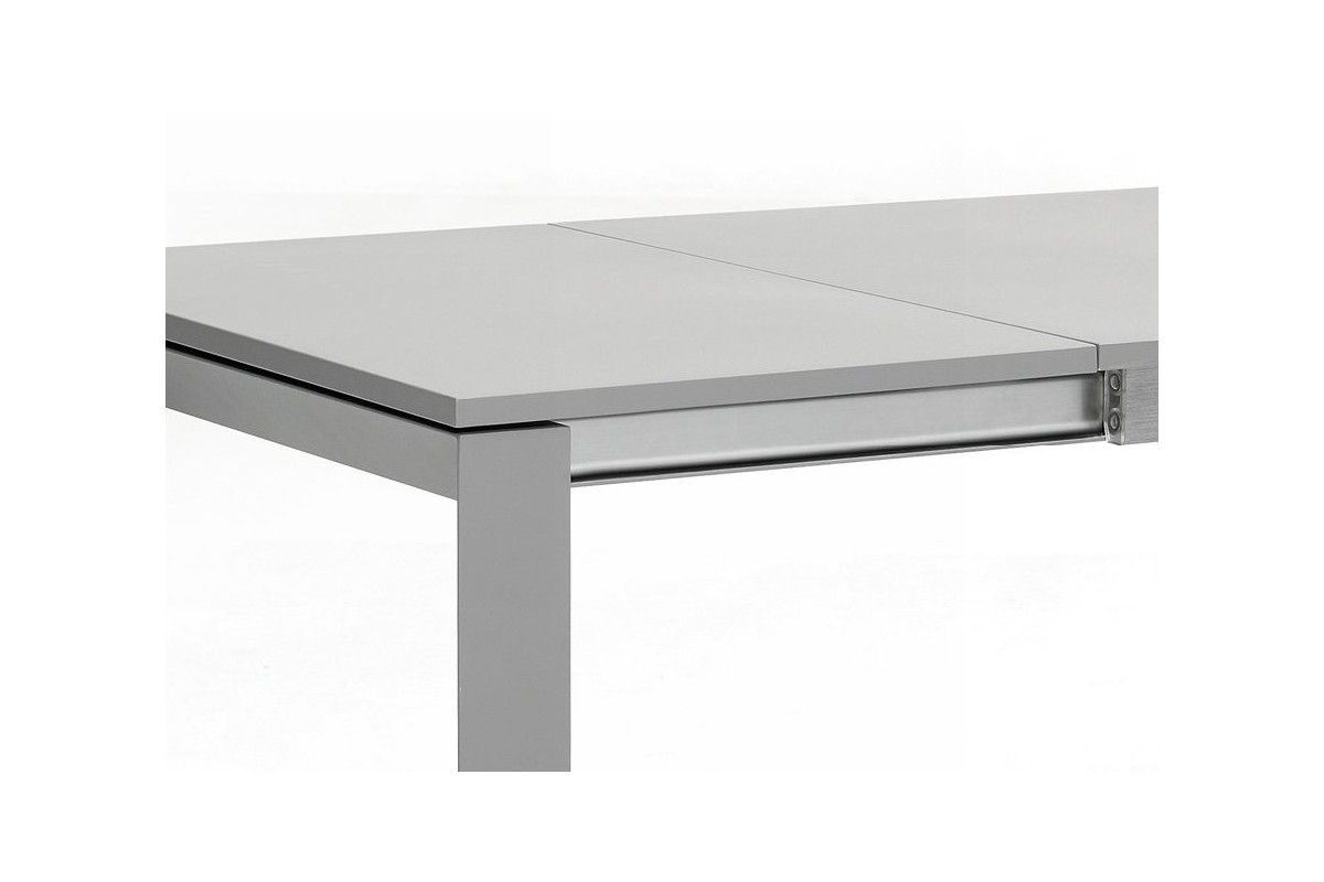 table de jardin en alu gris avec rallonge 200 260 cm. Black Bedroom Furniture Sets. Home Design Ideas