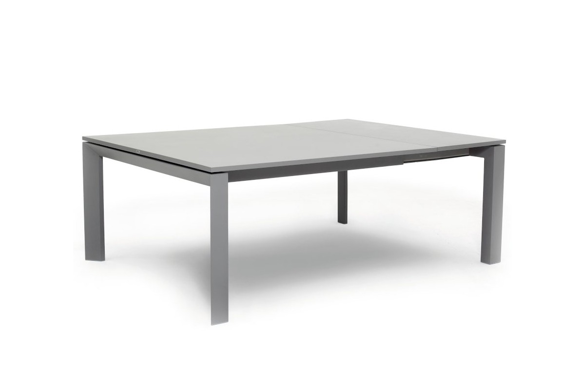 Table de jardin carr e en alu gris avec rallonge 150 210 for Table carree avec rallonge integree