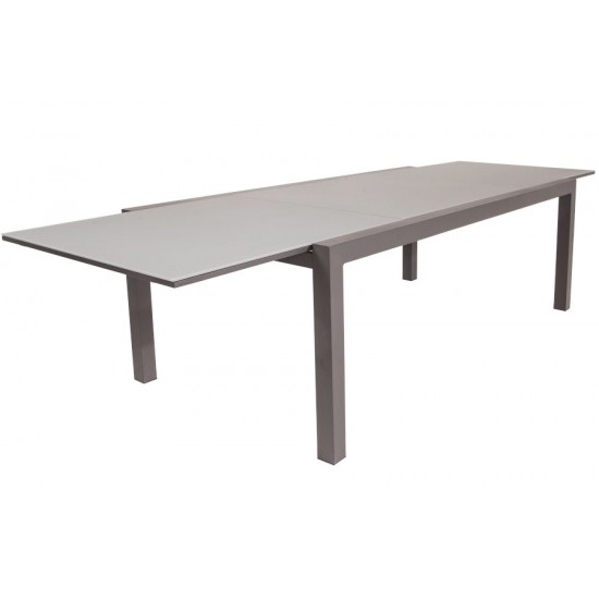 Table en alu mat avec un plateau en verre dépoli et une rallonge 220 / 330 cm, Luga