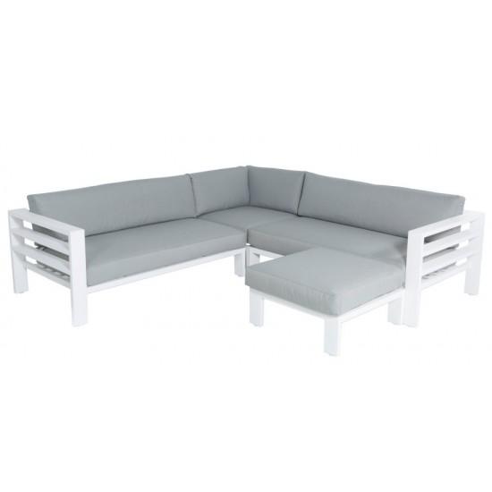 Salon de jardin design alu blanc et coussin gris, Leon