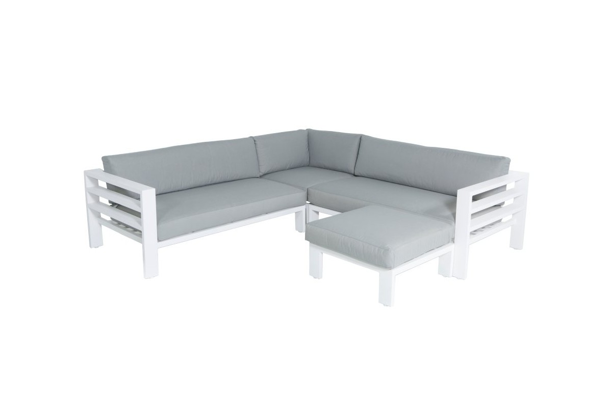 Salon de jardin design alu blanc et coussin gris leon for Salon jardin design