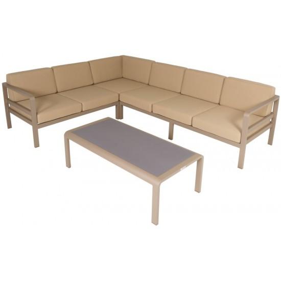 Salon de jardin en alu et coussins avec table plateau verre, Anco