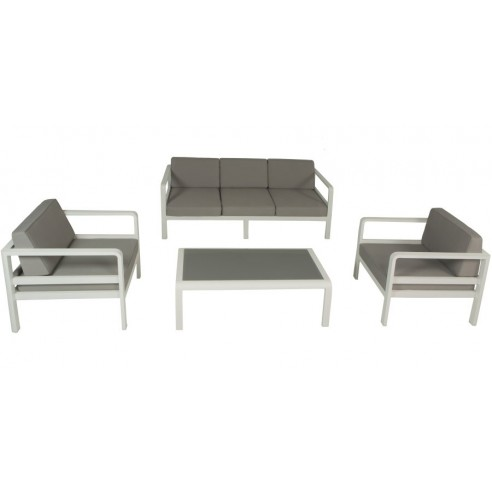 Salon de jardin alu canap 3 p 2 fauteuils avec for Salon 3m de large