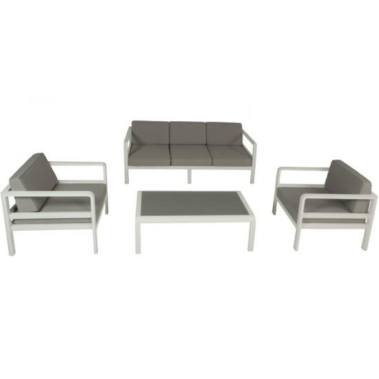 Salon de jardin alu, canapé 3 p + 2 fauteuils, avec coussins et table plateau verre, Anco