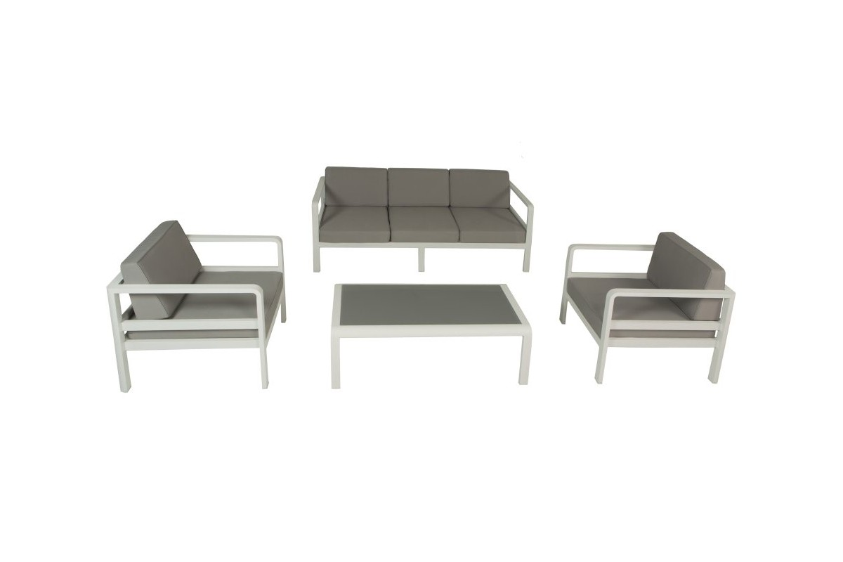 Beautiful salon de jardin alu blanc et gris contemporary amazing