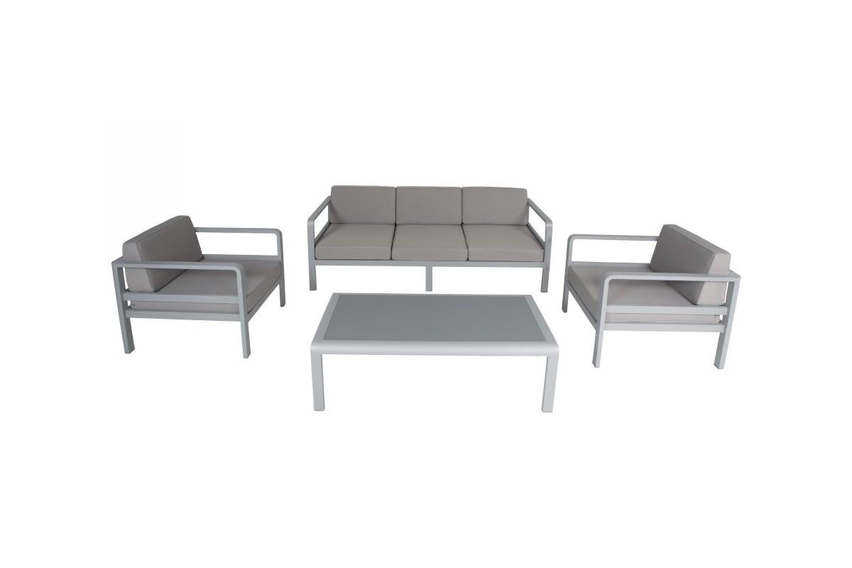 Salon de jardin alu, canapé 3 p + 2 fauteuils, coussins et table