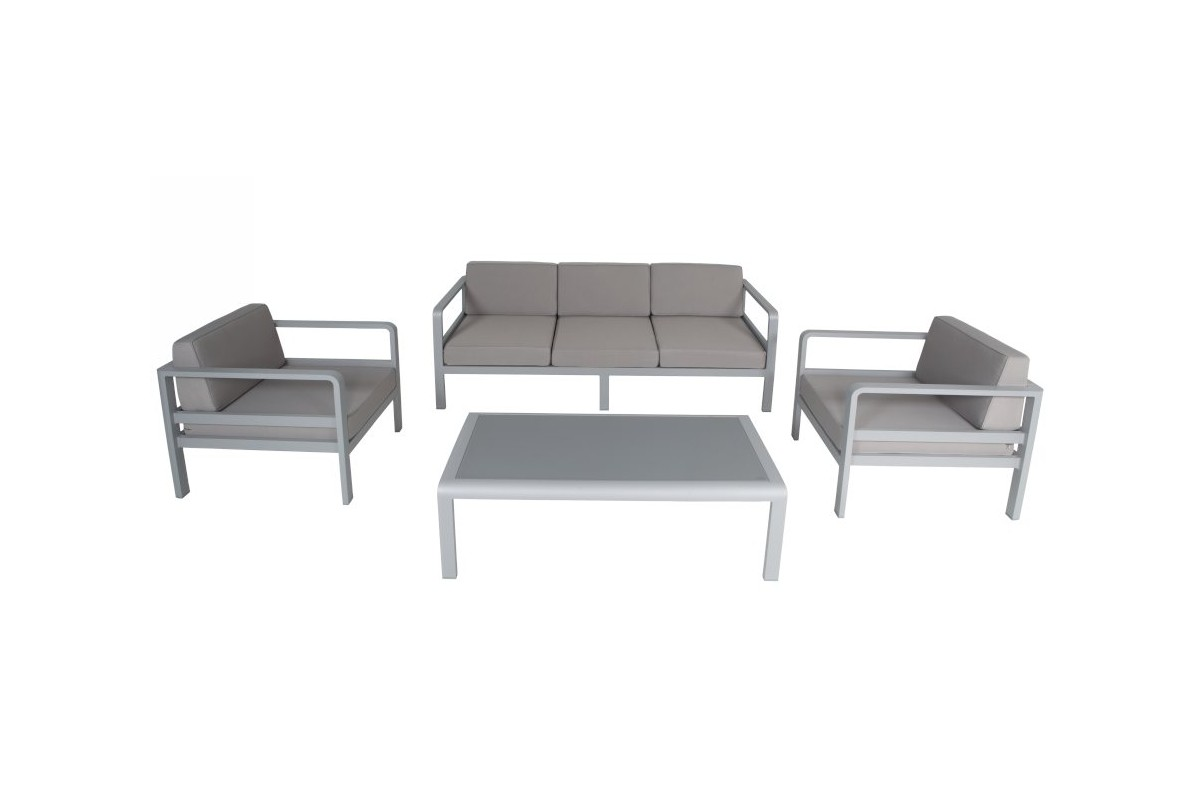 salon de jardin alu canap 3 p 2 fauteuils avec coussins et table plateau verre anco la. Black Bedroom Furniture Sets. Home Design Ideas