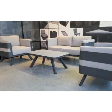 Salon de jardin alu avec coussins et table, Fere